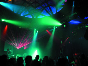 busy nightclub with strobe lights