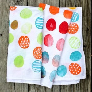 Potato print tea towel