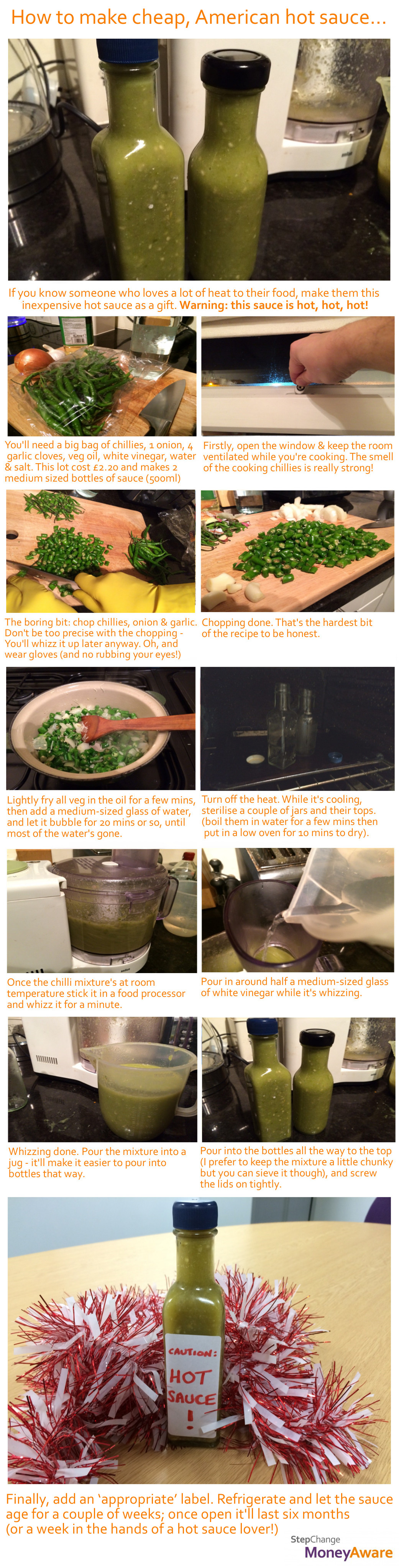 step by step visuals to make hot sauce