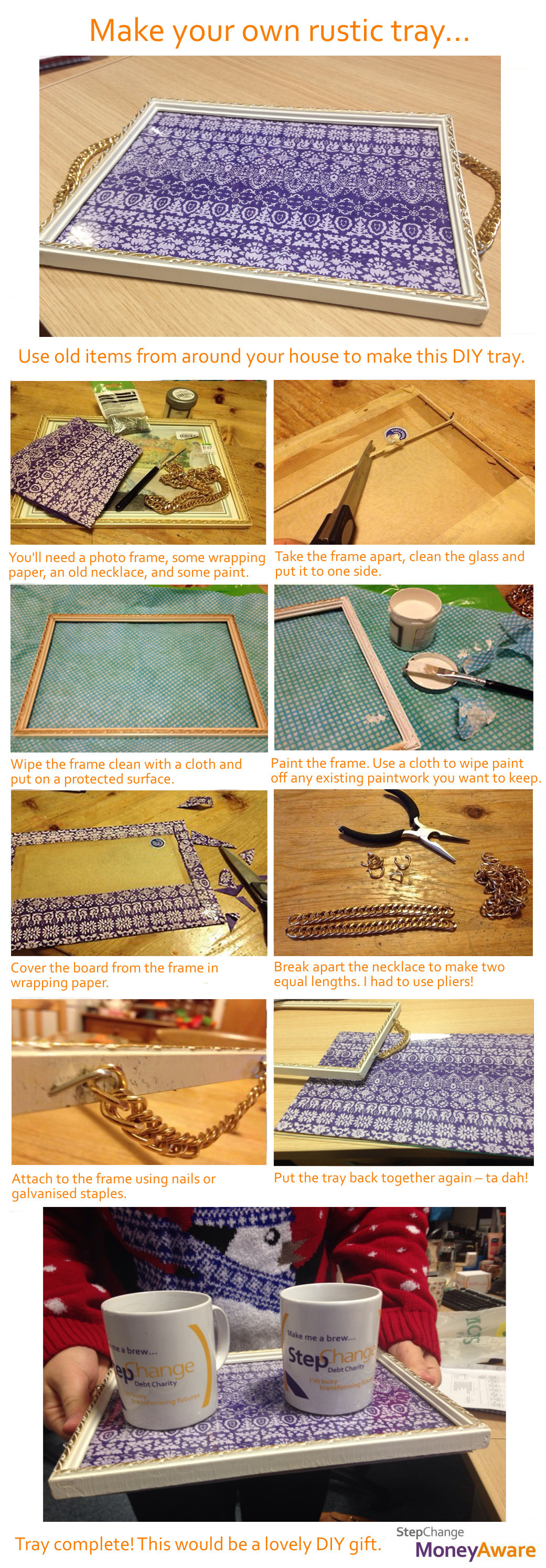 step by step visual guide to make a tray