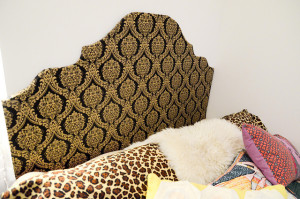 DIY gold and black headboard