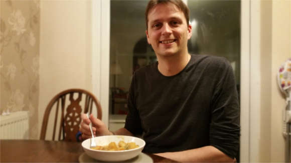 James eating stew