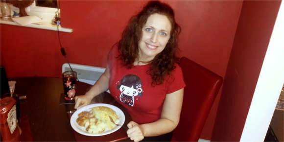 Rachel enjoying cottage pie