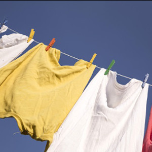 clothes washing on line against blue sky