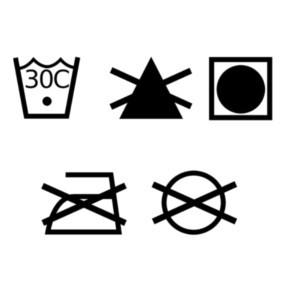 Laundry symbols, wash on 30 degrees, no ironing, tumble dry only, no bleaching