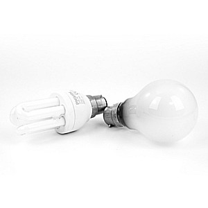 energy saving light bulb and regular lightbulb next to each other in white room