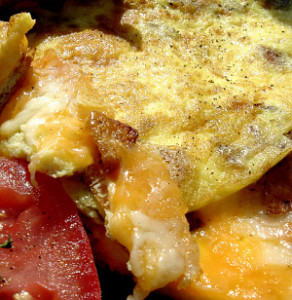 close up of potato omelette