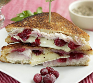 photo of brie, turkey and cranberry sandwiches