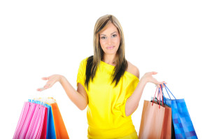 woman with lots of shopping bags