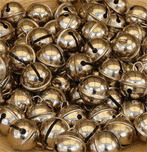 close up of small gold bells