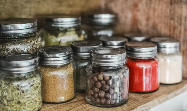 Jars of spices on a shelf