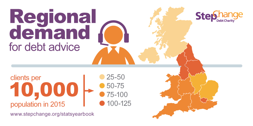 graphic showing regional demand for debt advice