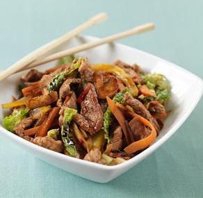 Photo of turkey stirfry in bowl with chopsticks