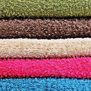 close up of colourful towels