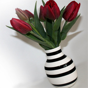 red tulips in a striped vase