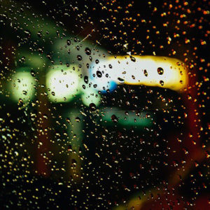 car window with rain on